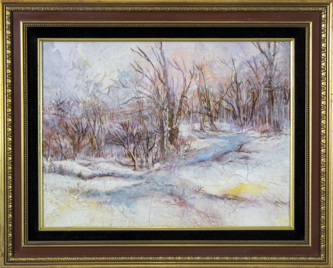 RUTH MCKEE 1929-2012, Pa Artist OIL/b WINTER LANDSCAPE