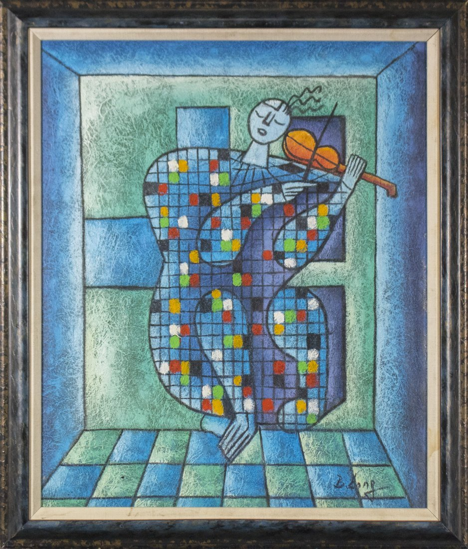B. SONG, Mid Century Modern CUBISTIC VIOLIN PLAYER