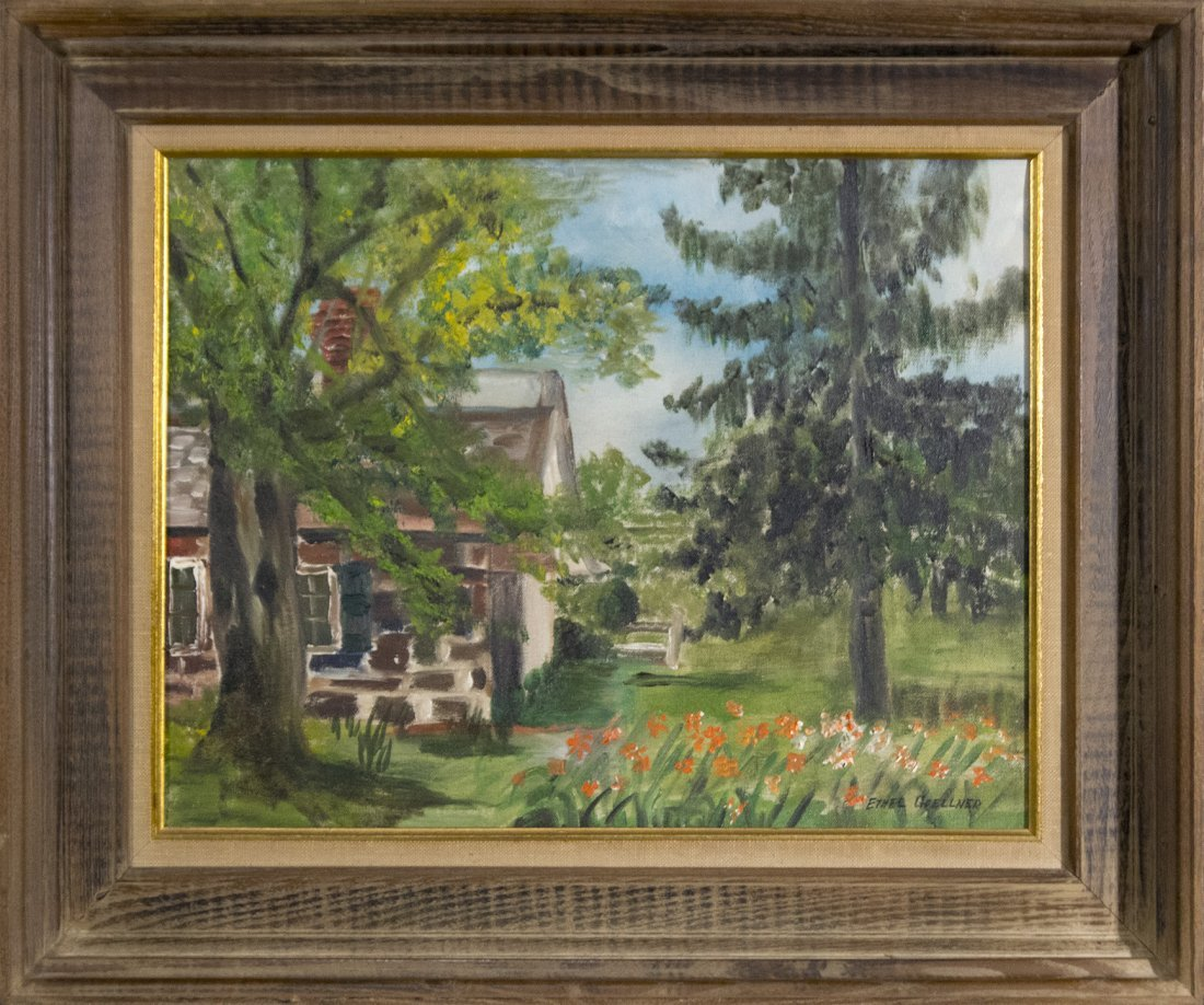 ETHEL GOELLNER, Oil/C Farmhouse in Country Landscape