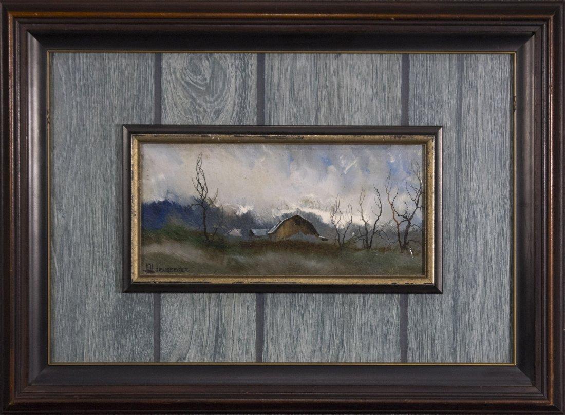 Don Hornberger 1921-2006 Oil/B Approaching Storm Barn