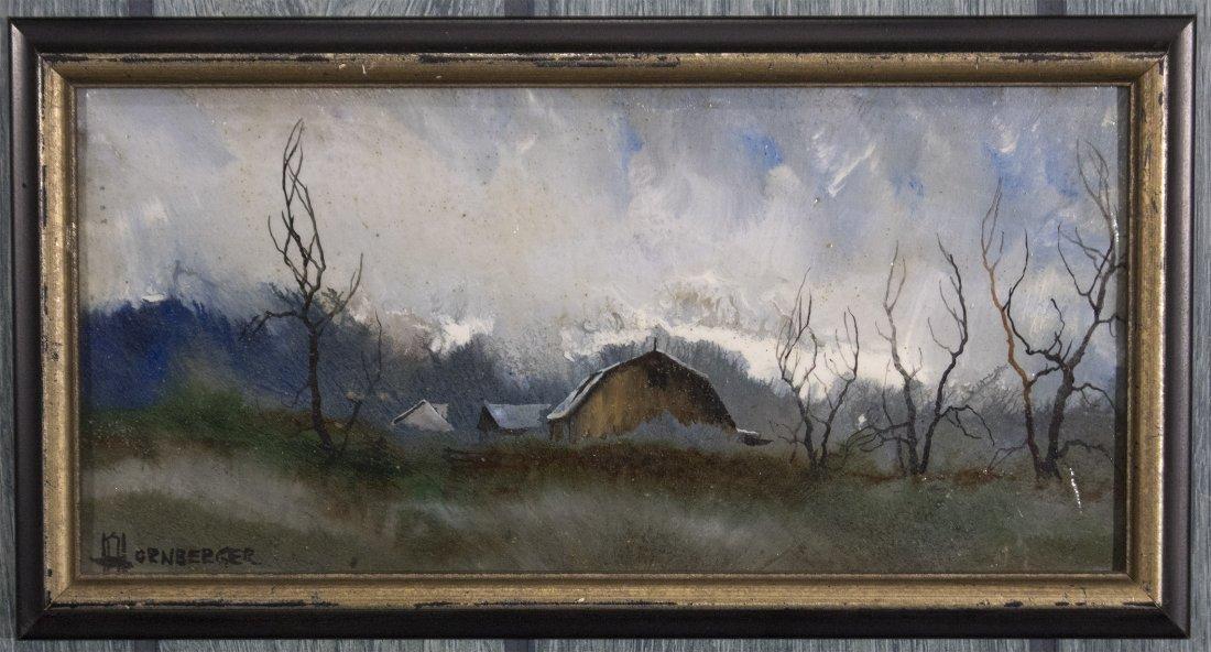 Don Hornberger 1921-2006 Oil/B Approaching Storm Barn - 2
