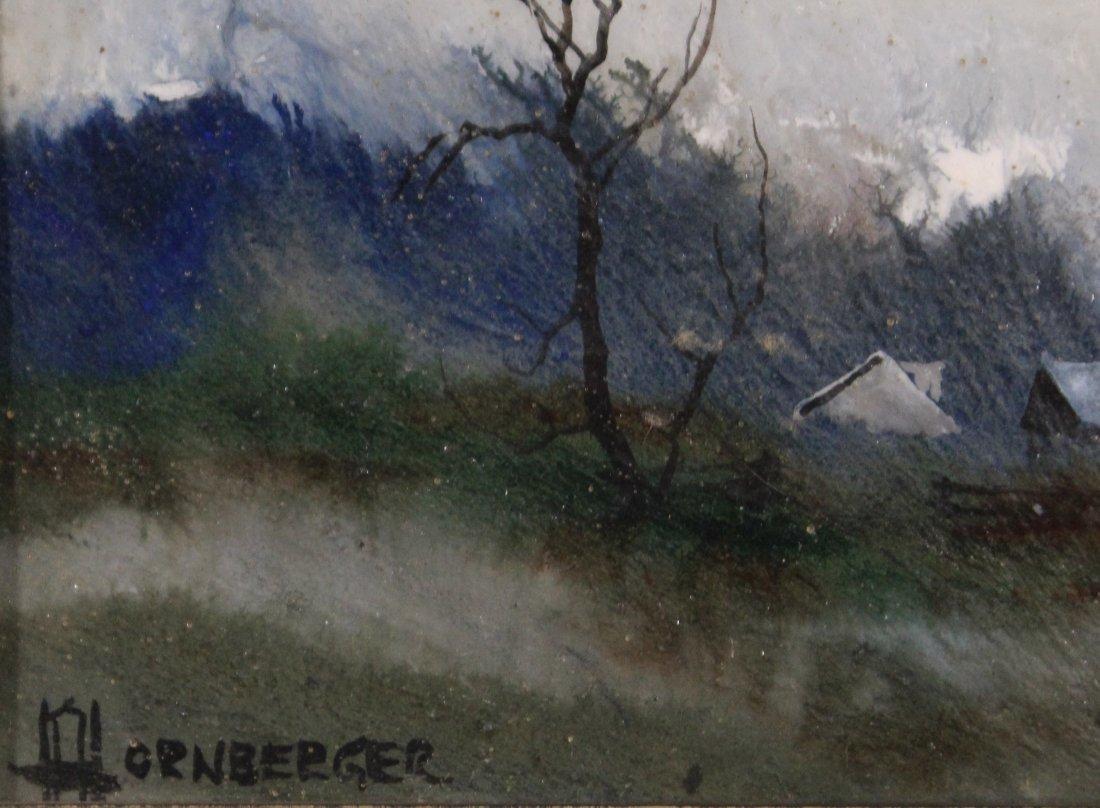 Don Hornberger 1921-2006 Oil/B Approaching Storm Barn - 3