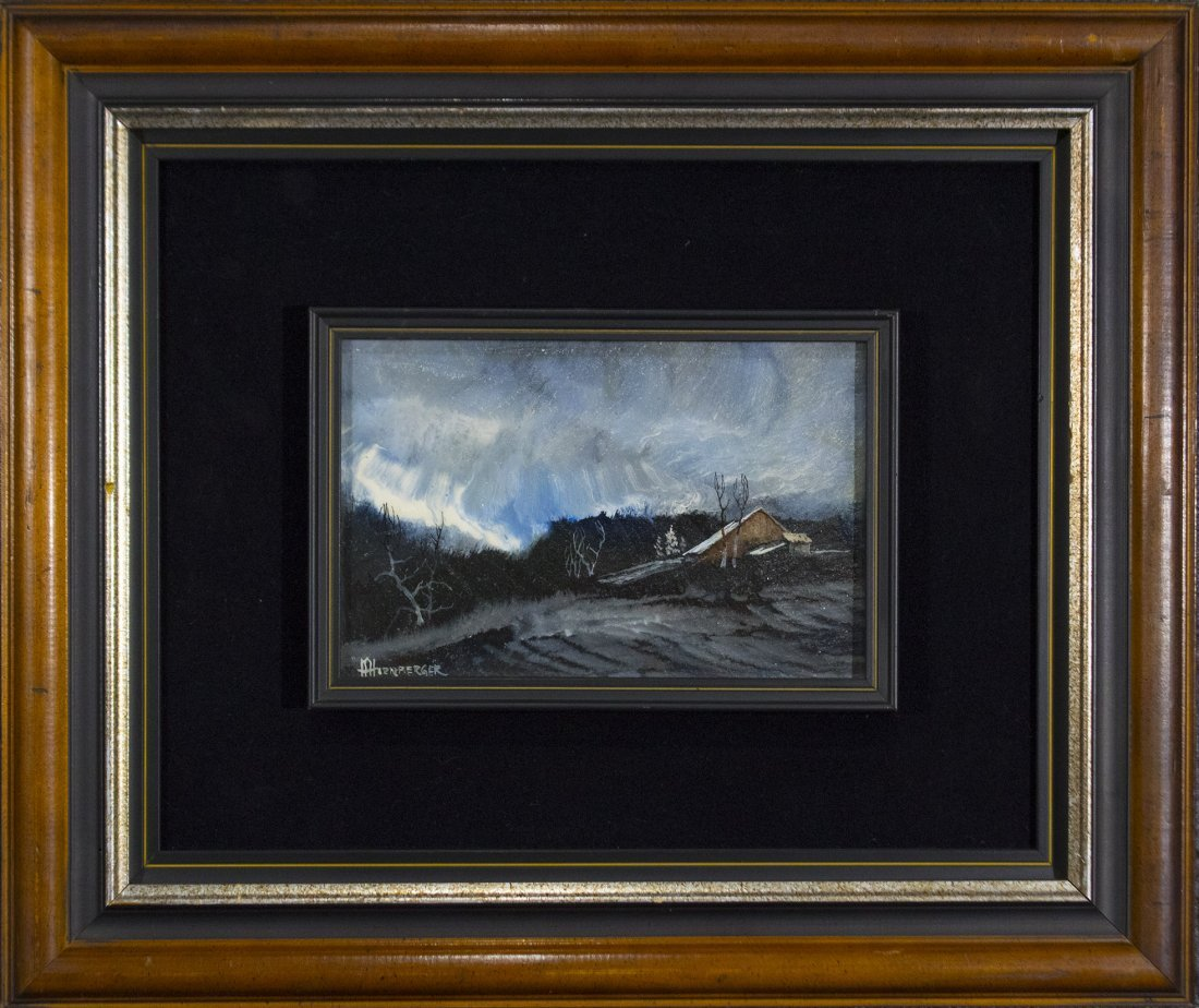 Don Hornberger 1921-2006 Oil Painting Storm Over Barn