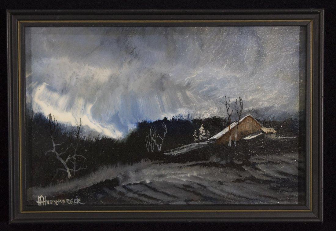 Don Hornberger 1921-2006 Oil Painting Storm Over Barn - 2
