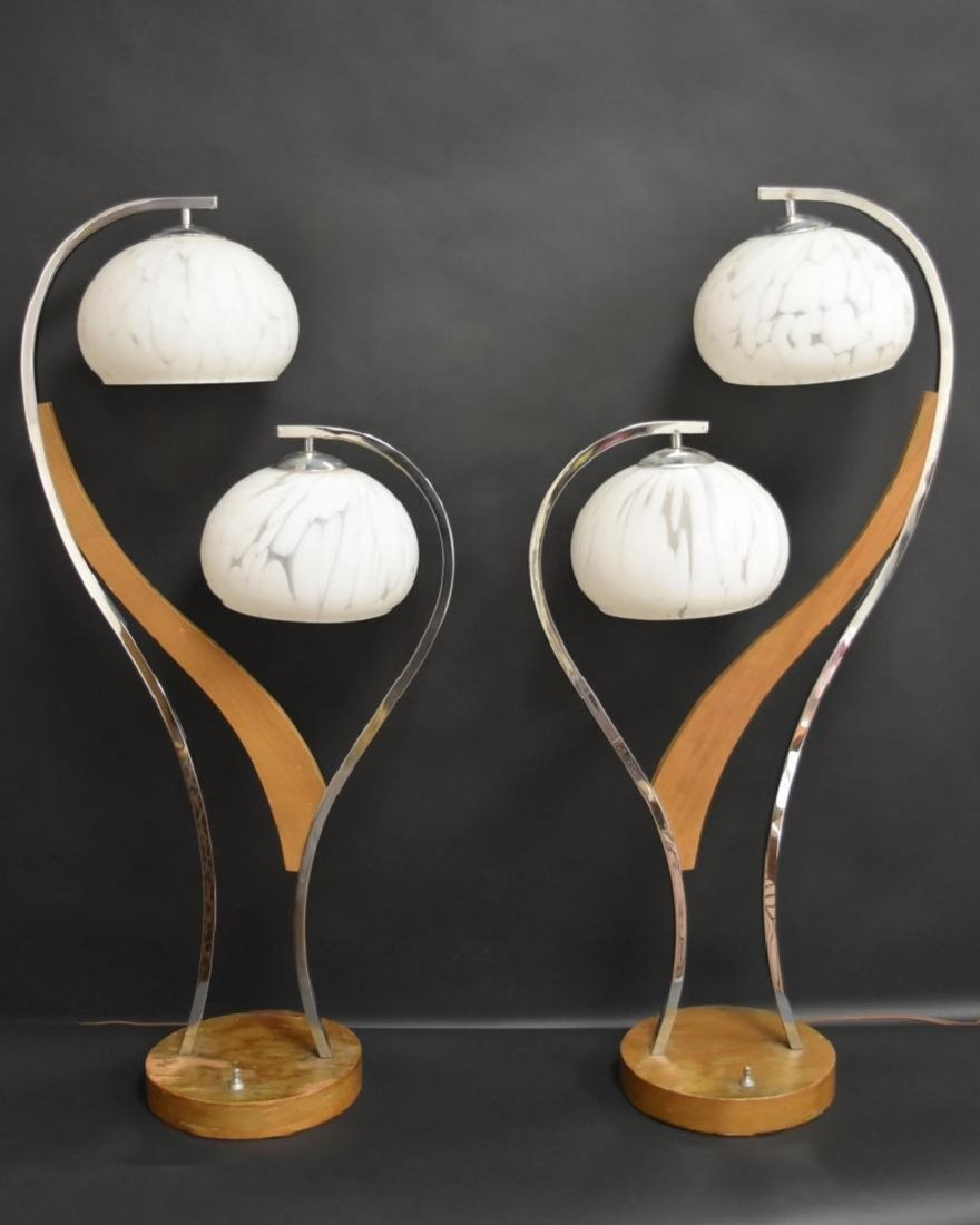 Pair MID CENTURY MODERN DOUBLE ART GLASS SHADE LAMPS