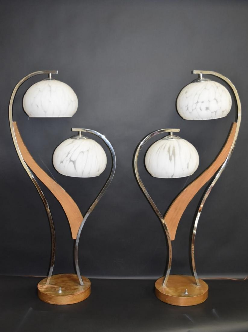 Pair MID CENTURY MODERN DOUBLE ART GLASS SHADE LAMPS - 2