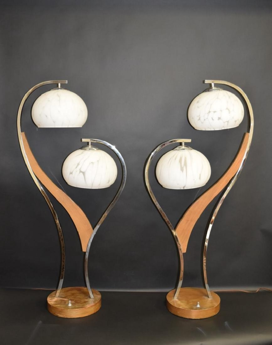 Pair MID CENTURY MODERN DOUBLE ART GLASS SHADE LAMPS - 3