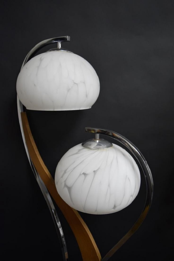Pair MID CENTURY MODERN DOUBLE ART GLASS SHADE LAMPS - 6