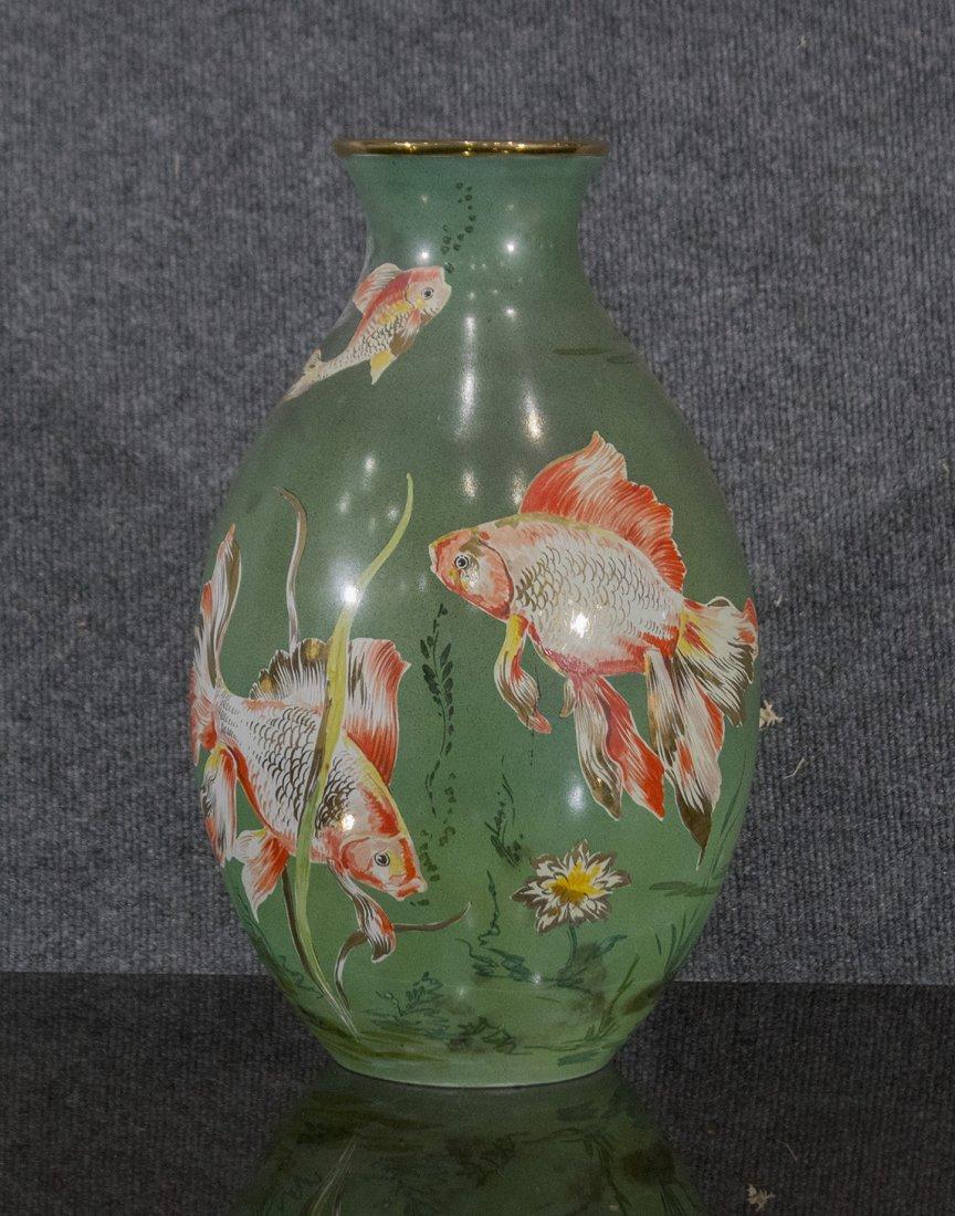 Italian Ceramic Vase With Enamel Fish Decoration