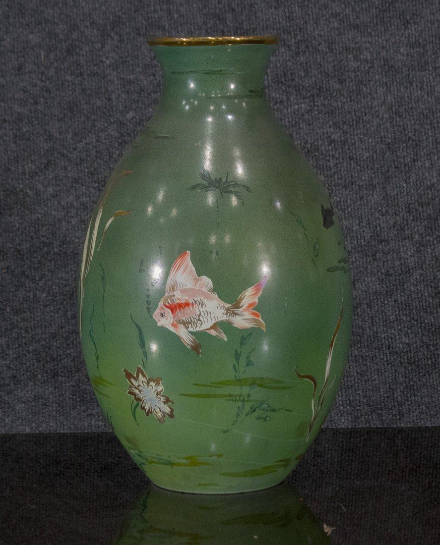 Italian Ceramic Vase With Enamel Fish Decoration - 2