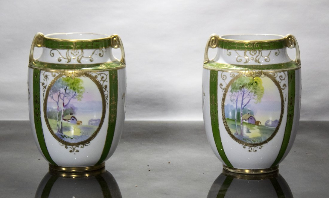 Pair NIPPON Porcelain Vases OVAL SCENIC PANELS