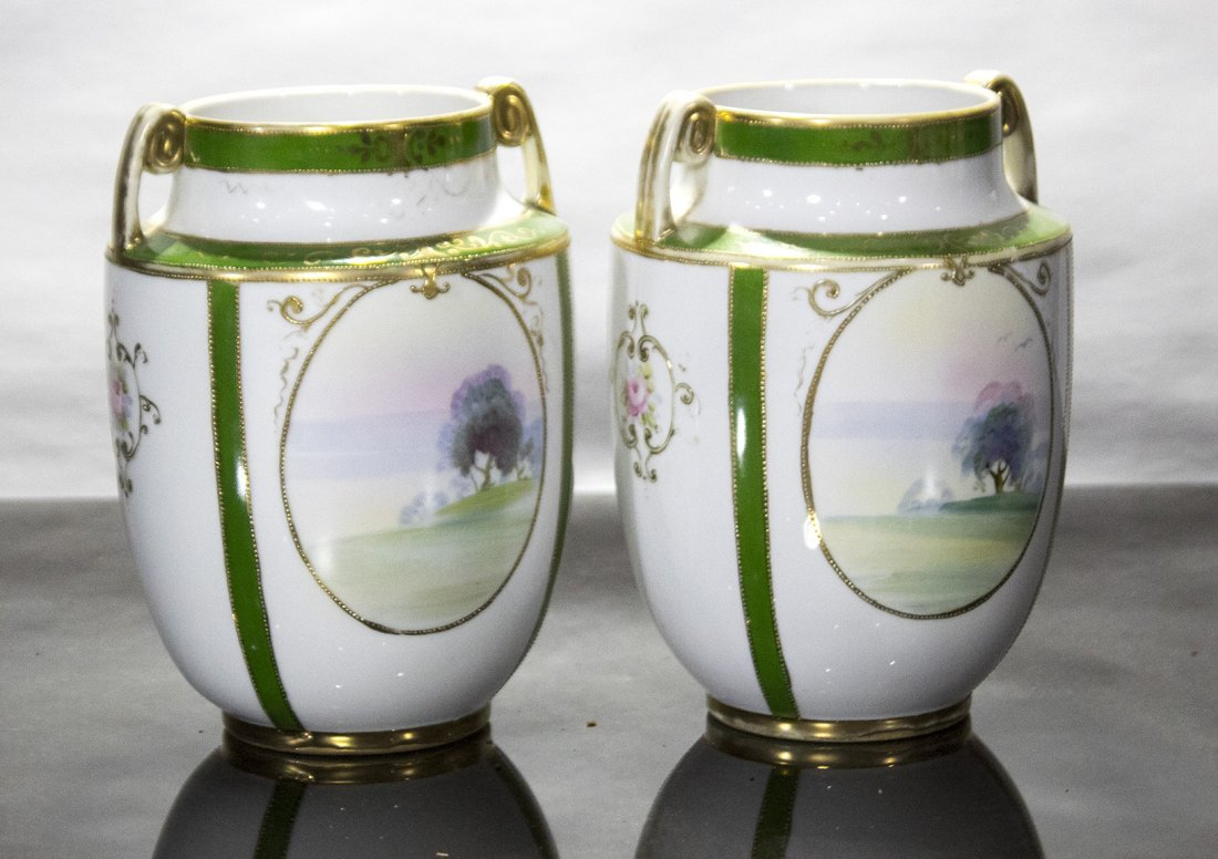 Pair NIPPON Porcelain Vases OVAL SCENIC PANELS - 3