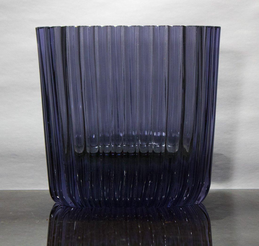 Mid Century Modern Quality Amethyst Glass Ribbed Vase