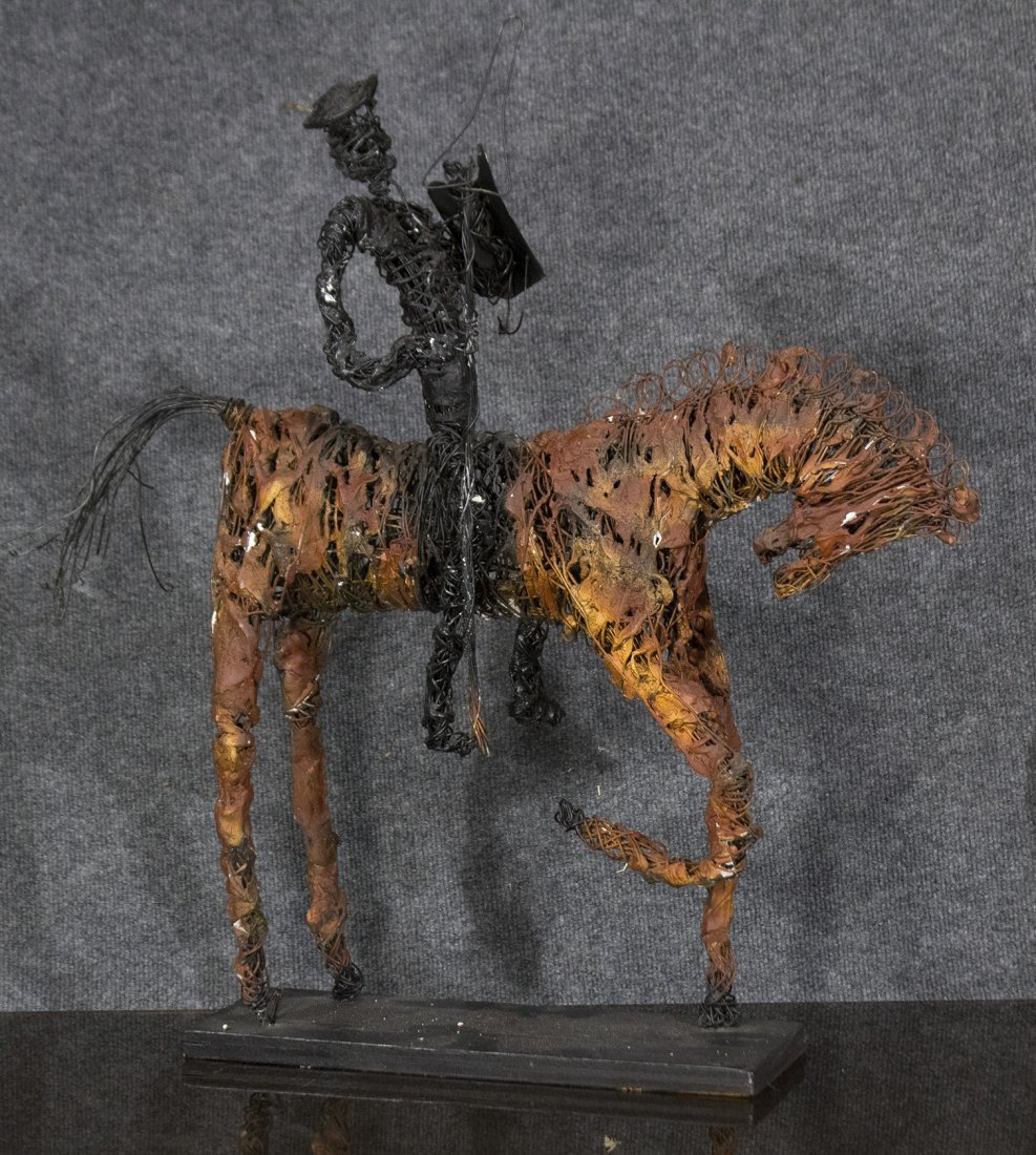 MID-CENTURY MODERN WIRE SCULPTURE Don Quixote