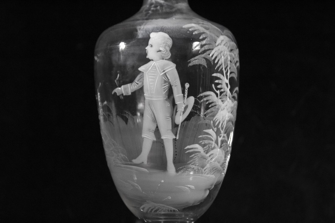 MARY GREGORY Glass Decanter Young Boy Holding Baton - 2