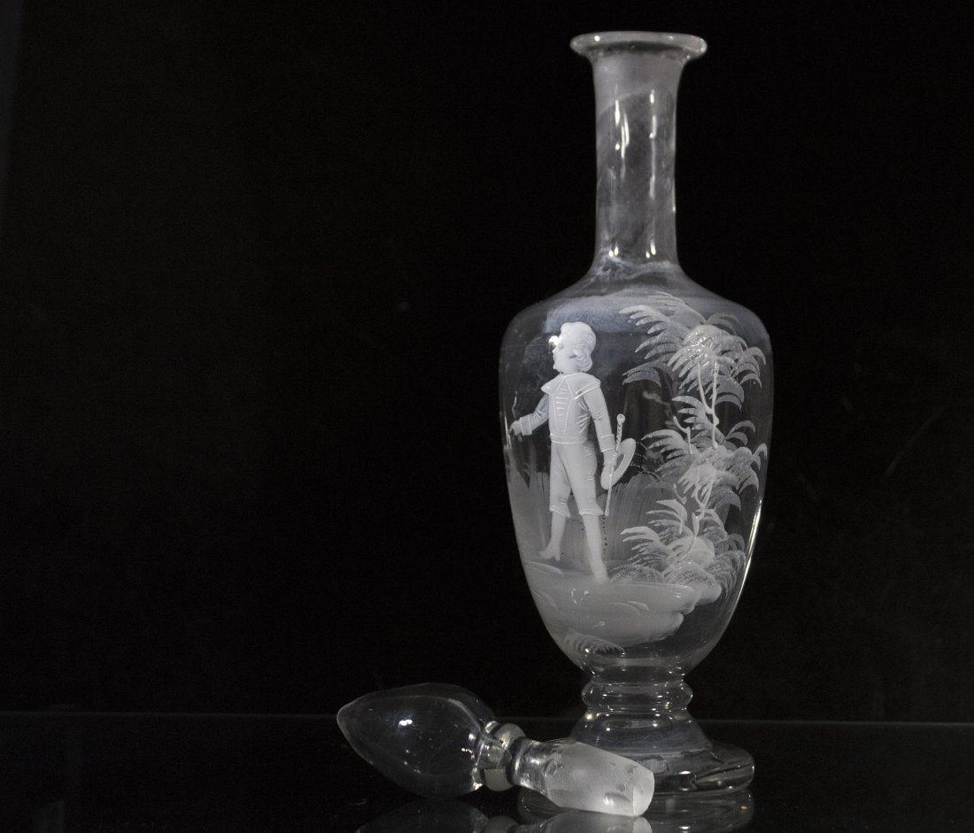 MARY GREGORY Glass Decanter Young Boy Holding Baton - 3