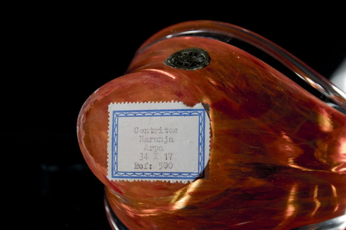 MURANO ART GLASS HIGH SIDES BOWL ORANGE TO CLEAR - 5