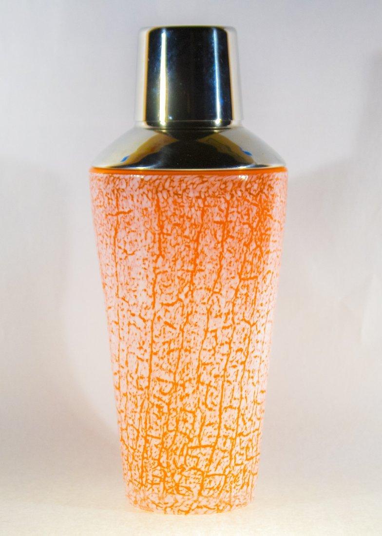 Mid Century COCKTAIL SHAKER Orange White Overshot Glass