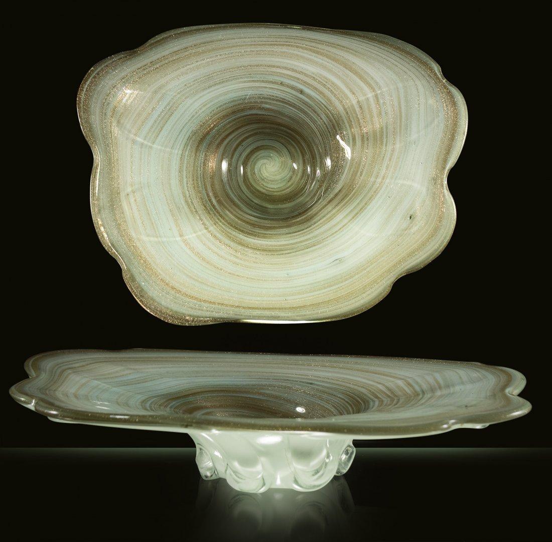 1950's MURANO ART GLASS GOLD DUS,T SWIRL CENTER BOWL