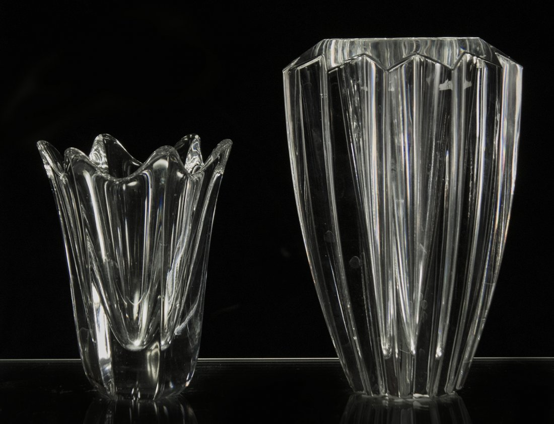 Two [2] Signed ORREFORS Crystal Glass Vases