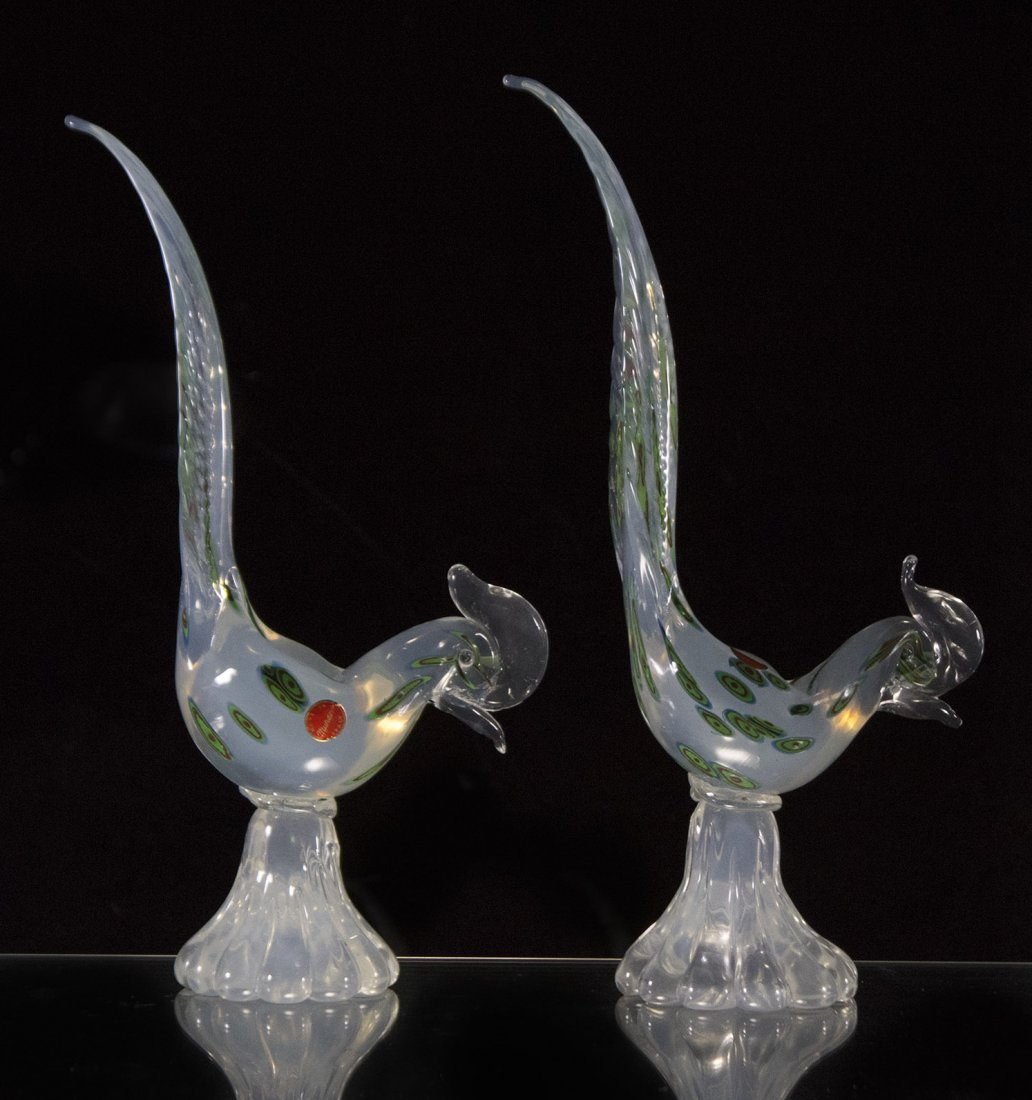 Pair MURANO GLASS EXOTIC BIRDS Figures
