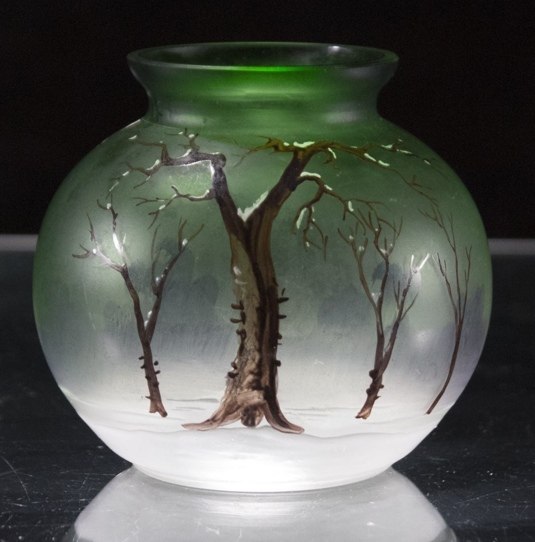 Art Glass Rose Bowl Vase Hand Painted Trees In Winter