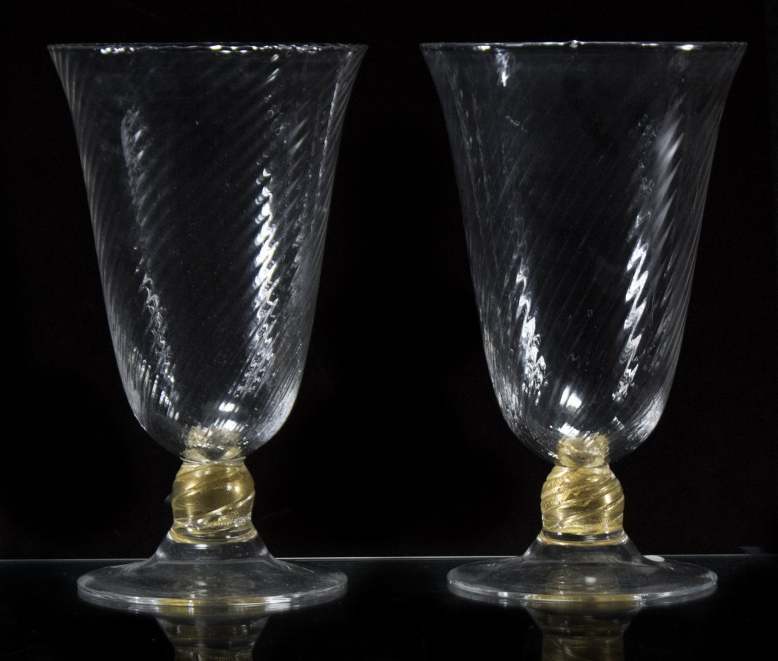 Matched Pair VENETIAN GLASS VASES clear with gold base