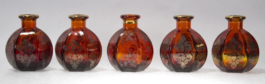 Five [5] Matching Amberina Glass Table Top Bud Vases