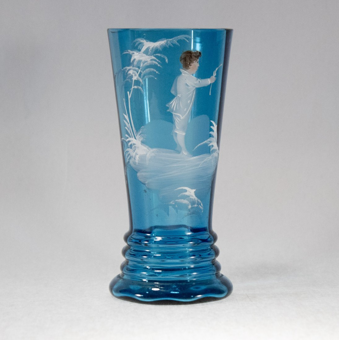 MARY GREGORY Teal Blue Glass Vase Young Boy in White