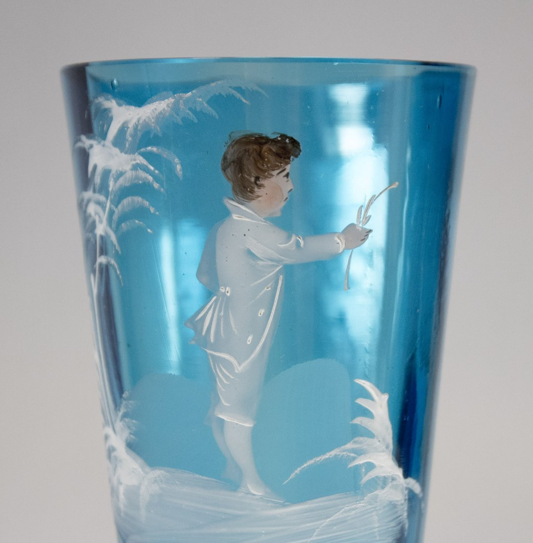MARY GREGORY Teal Blue Glass Vase Young Boy in White - 2