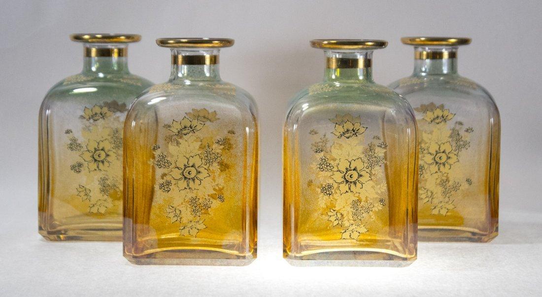 Set Four [4] Fancy Italian Glass Dresser Bottles