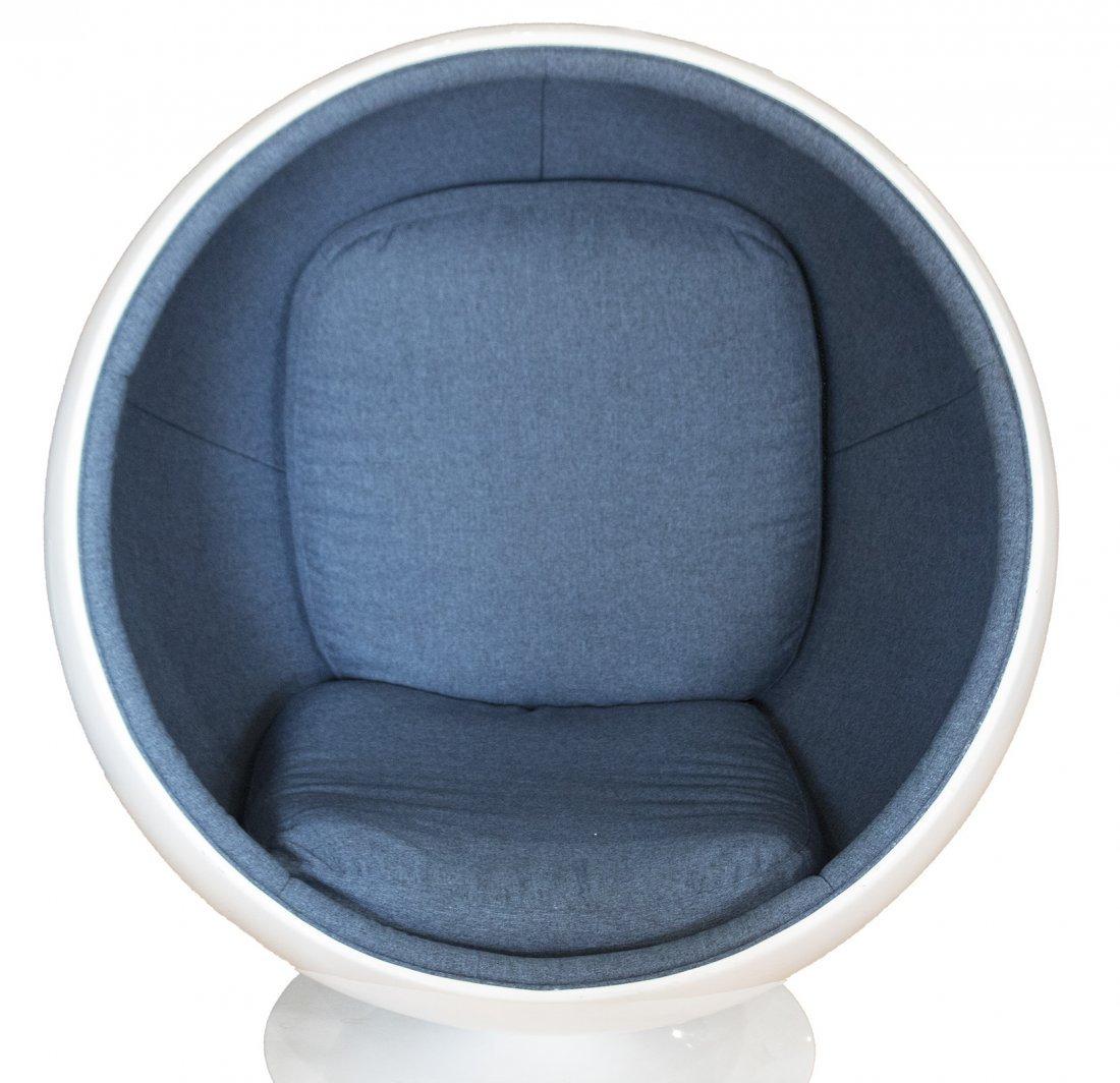 ICONIC EGG CHAIR SPHERE FIBERGLASS SHELL BLUE UPHOLSTER - 2