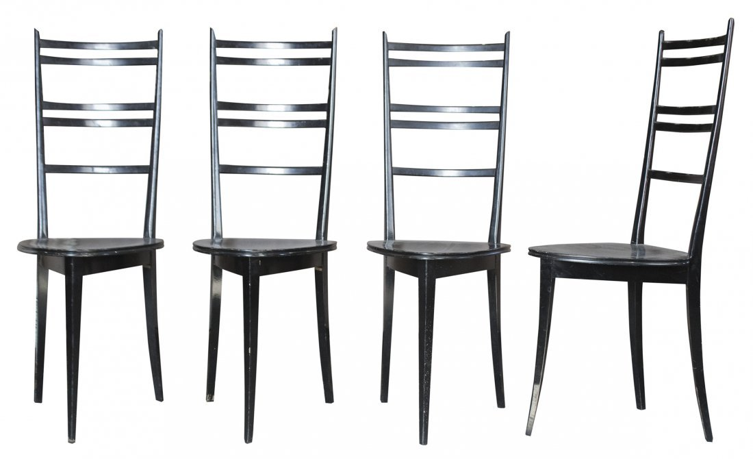 GIO PONTI Set Four [4] MID CENTURY LADDER BACK CHAIRS