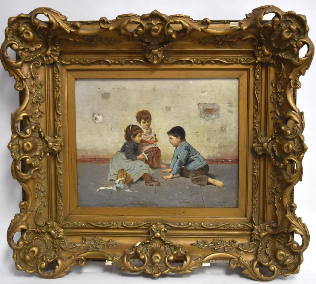 GIOVANNI TOSCANA b. 1843 Italy CHILDREN PLAYING Oil /c