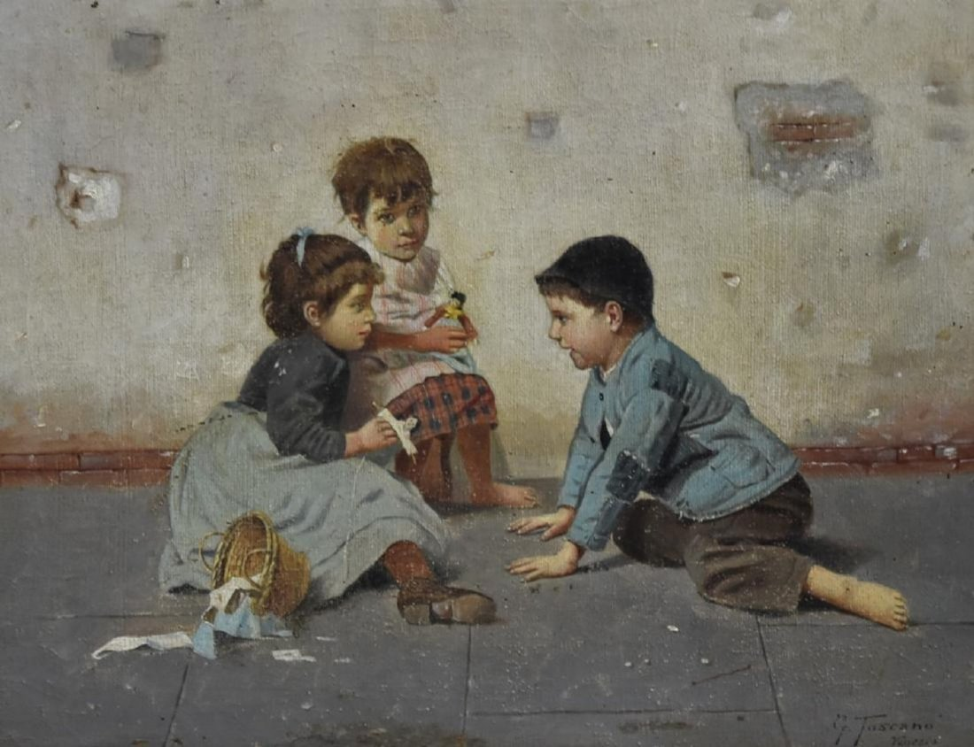 GIOVANNI TOSCANA b. 1843 Italy CHILDREN PLAYING Oil /c - 2