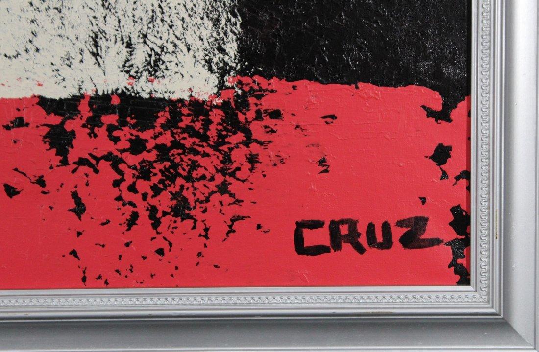 CRUZ, Mid Century Modern LATIN AMERICAN ABSTRACT OIL/C - 2
