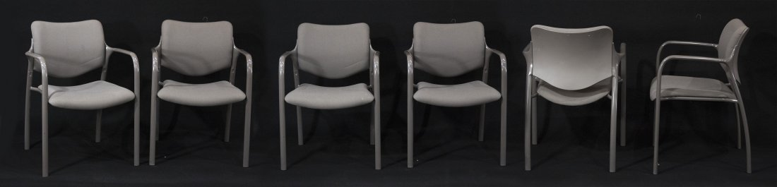 SET SIX [6] HERMAN MILLER QUALITY STACKING ARM CHAIRS
