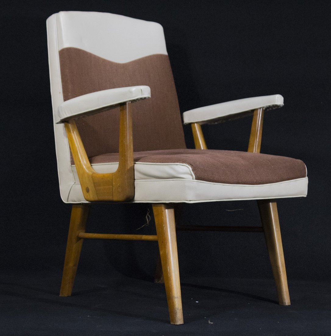 Mid-Century Modern Stylish Arm Chair Brown And White