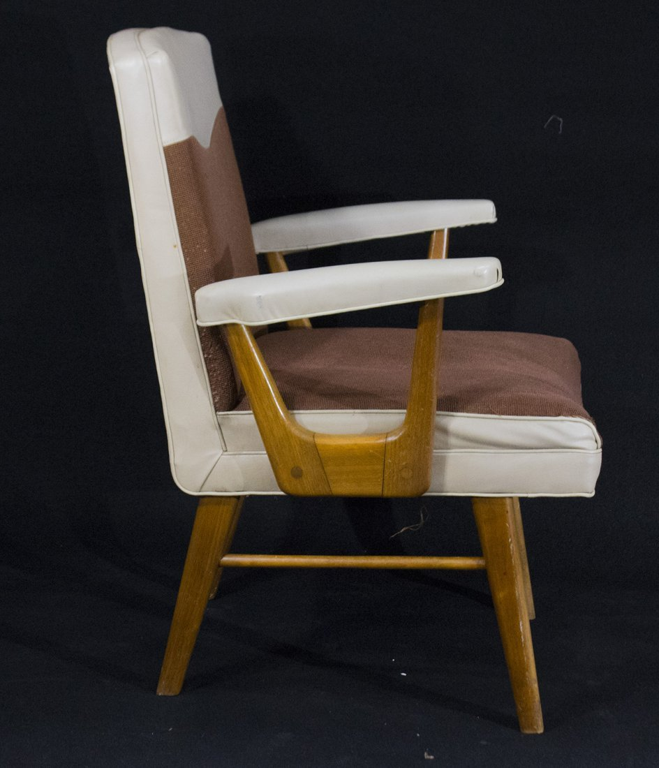 Mid-Century Modern Stylish Arm Chair Brown And White - 2