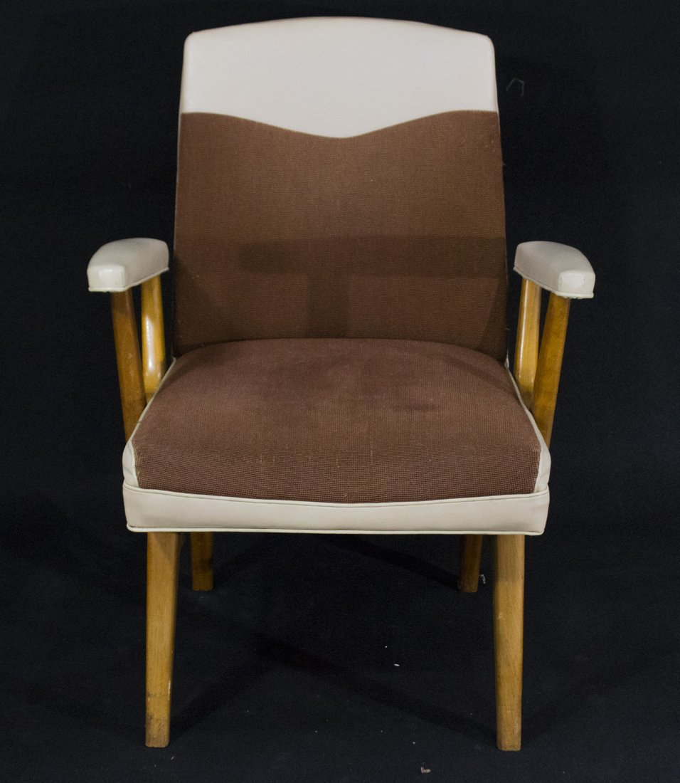 Mid-Century Modern Stylish Arm Chair Brown And White - 3