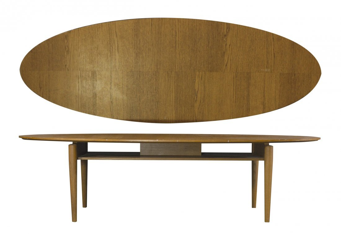 Mid-Century Modern Floating Top Surfboard Coffee Table