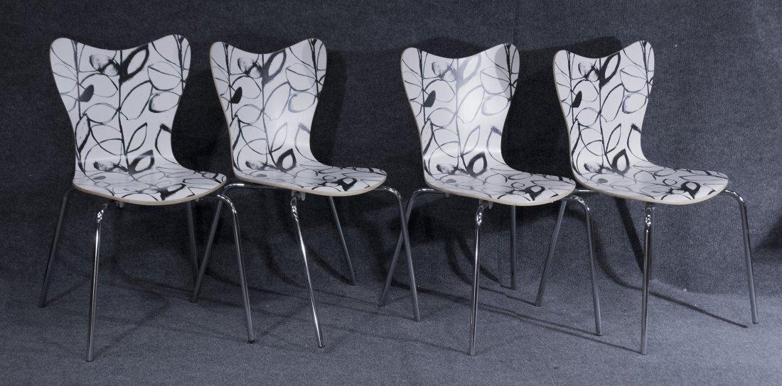 Set Four 4 Mid Century Mod Black White Bent Ply Chairs