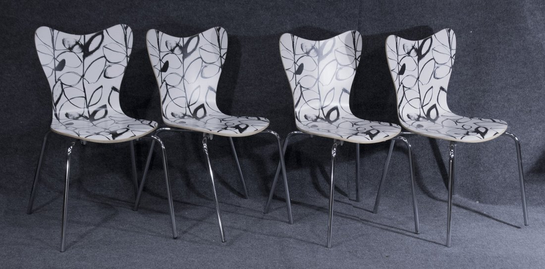 Set Four 4 Mid Century Mod Black White Bent Ply Chairs
