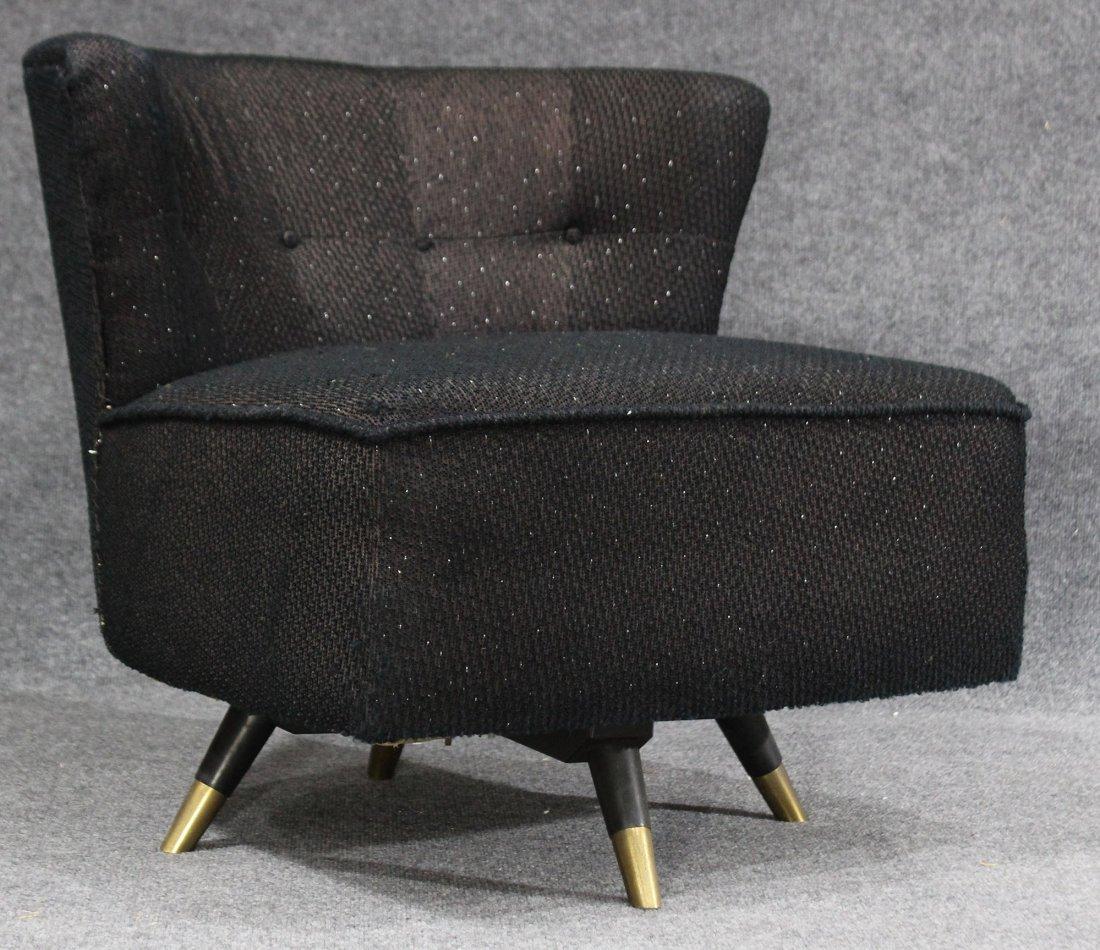 ADRIAN PEARSALL Style SWIVEL BOUDOIR CHAIR Black Tweed