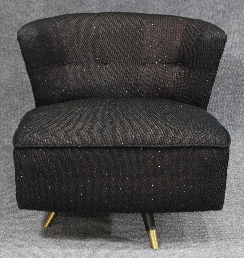ADRIAN PEARSALL Style SWIVEL BOUDOIR CHAIR Black Tweed - 2
