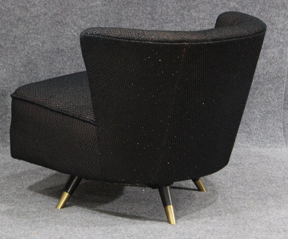 ADRIAN PEARSALL Style SWIVEL BOUDOIR CHAIR Black Tweed - 3