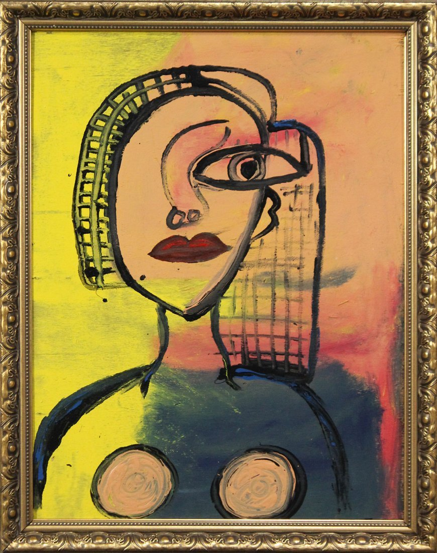 Mid Century Modern ABSTRACT PORTRAIT OF A WOMAN Oil/b