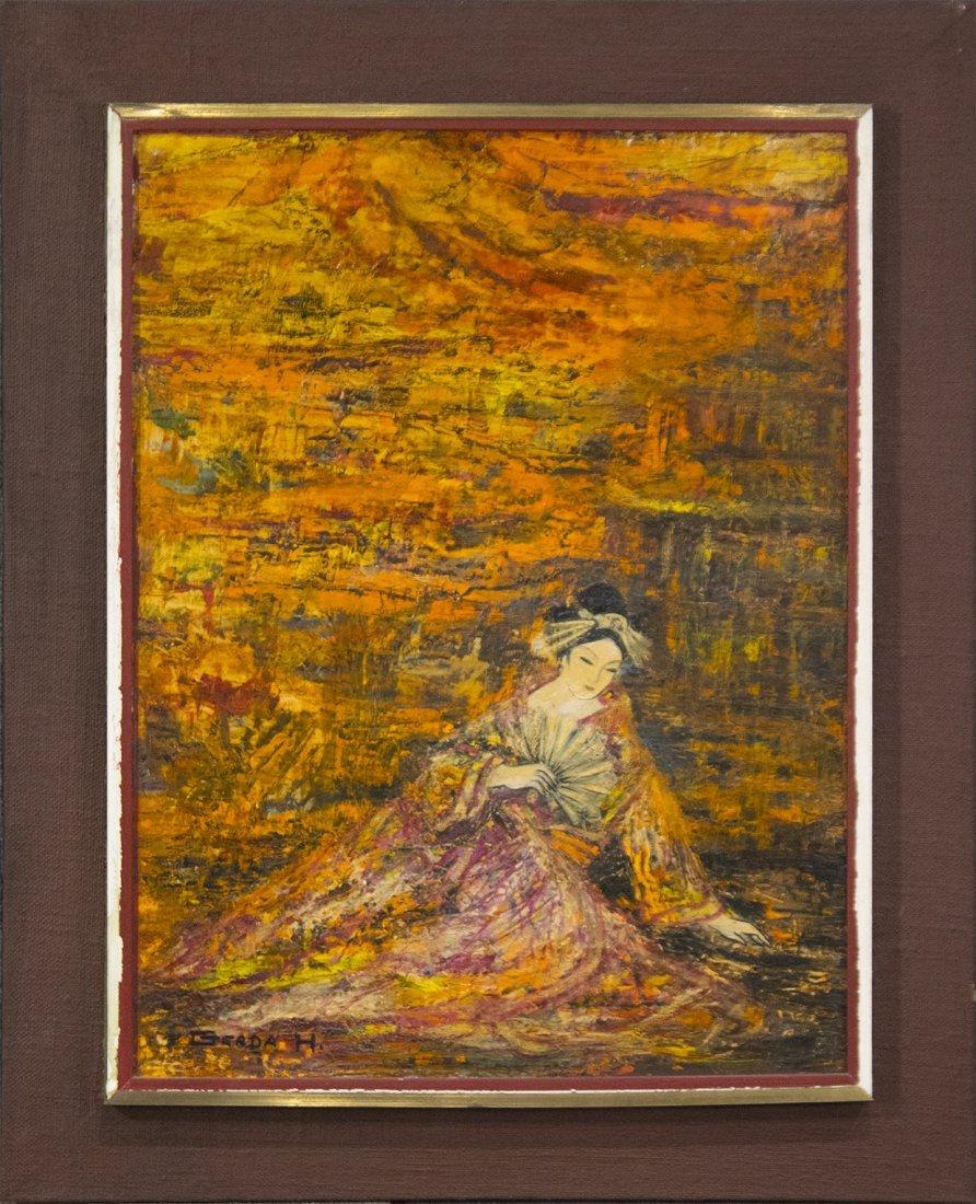 """GERDA HEGEOLU Oil/b Oriental Woman With Fan """"Butterfly"""""""
