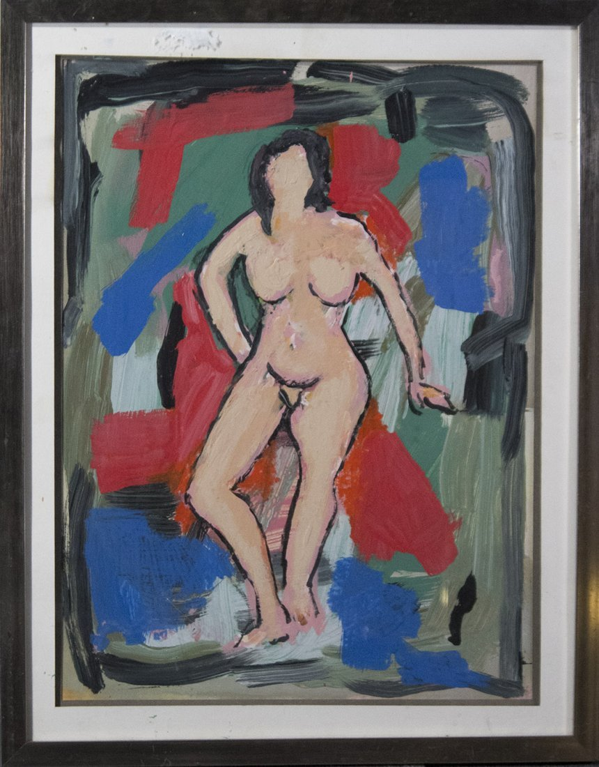 MID-CENTURY MODERN OIL NUDE FEMALE IN ABSTRACT