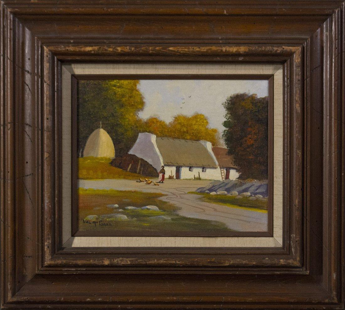 VAL MCGANN 1928-2016 Maine Artist Oil Thatch Roof House
